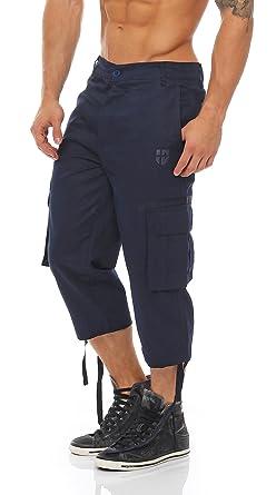 Gennadi Hoppe Herren Cargo 3/4 Capri Hose Pant, robuste Freizeit Hose,blau