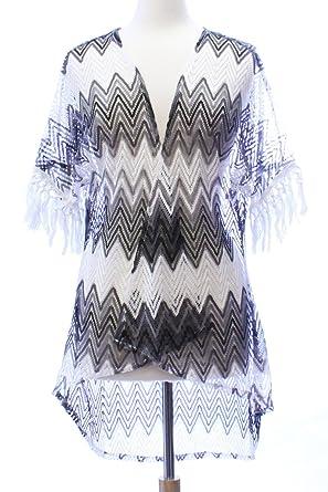 91bb4592fe LL- Black and White Zig Zag Lace Fringe Open Kimono Ladies Cover Up Medium