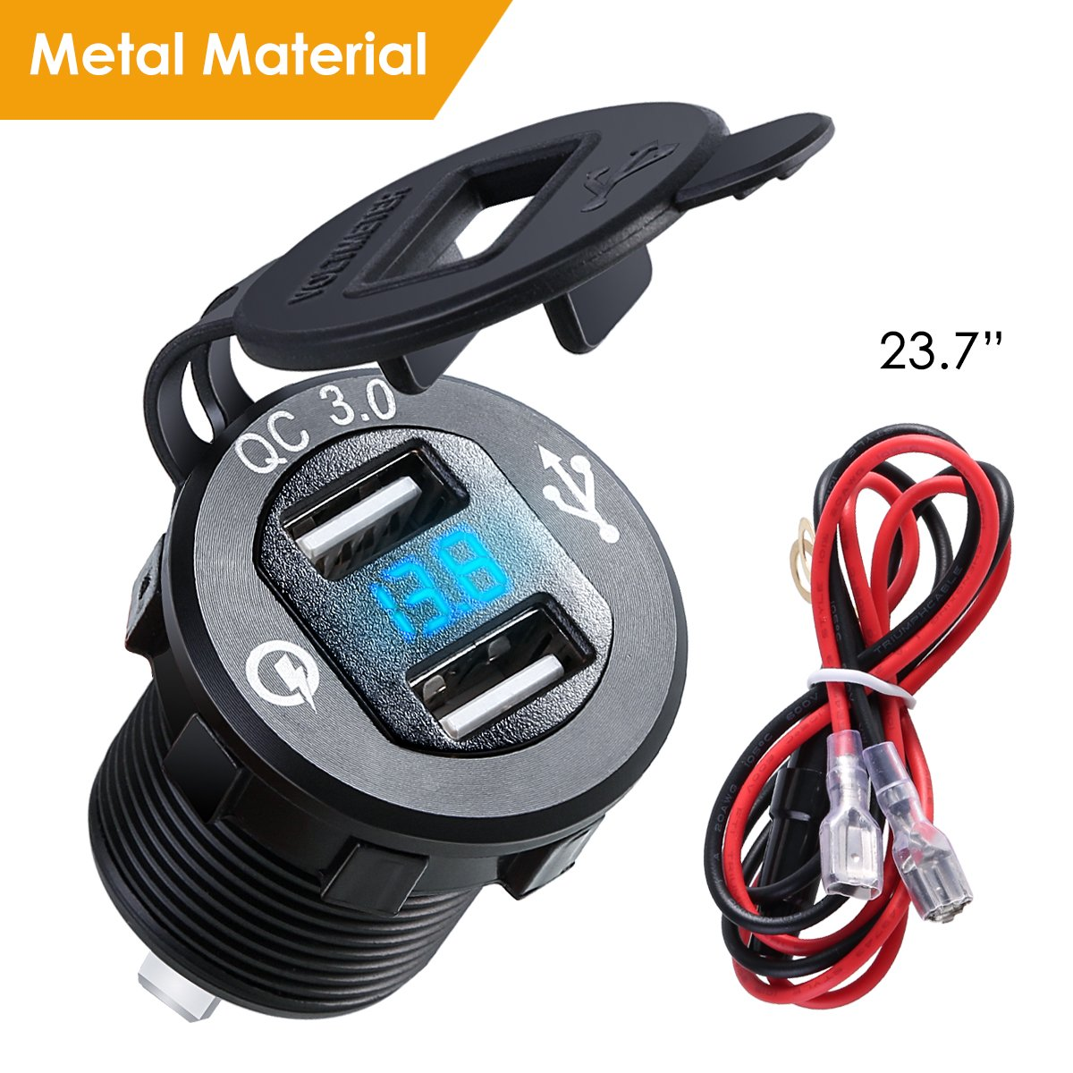 Dual USB Charger Socket Power Outlet with Digital Voltmeter QC 3.0 5v//1.5A Dual USB Port with LED Voltage Meter Display for 12V//24V Marine Car Motorcycle,Motorcycle Accessories Dealpeak