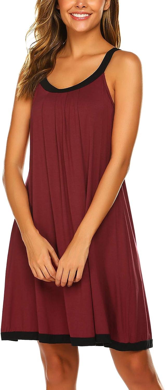 Ekouaer Wide Strap Chemise Full Slip Nightgowns Women Summer Sleeveless Sleepwear Plain Dress