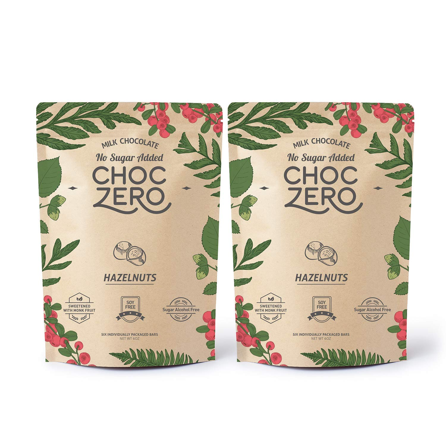 ChocZero's Keto Bark, Milk Chocolate Hazelnuts, No Added Sugar, Low Carb, No Sugar Alcohols, Non-GMO (2 bags, 6 servings/each)