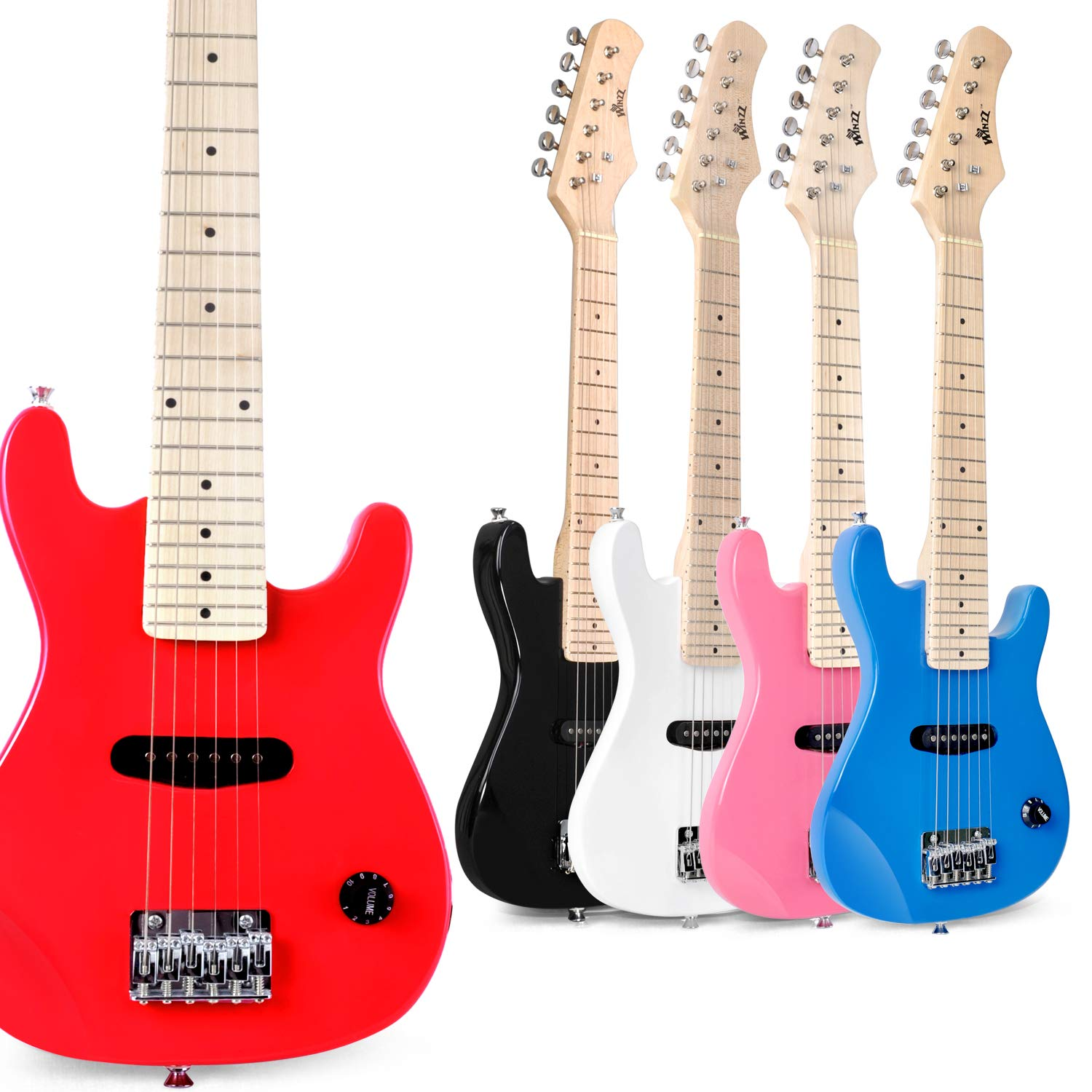 WINZZ 30 Inches Real Kids Electric Guitar with Beginner Kit, Red