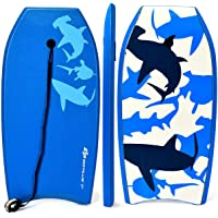 Goplus Super Body Board, Lightweight Bodyboard with EPS Core, XPE Deck, HDPE Slick Bottom, Premium Leash & Adjustable Wrist Rope, Perfect Surfing for Kids and Adults