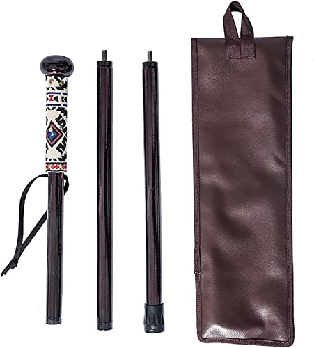 FOREST PILOT 3 Piece Walking Stick Flat Wooden Ball Head with a Compass Dark Rose Color, 48 Inches, Piece