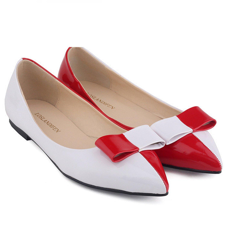 Amazon.com: feilongzaitianba Zapatos Patente piel Pisos lazo ...