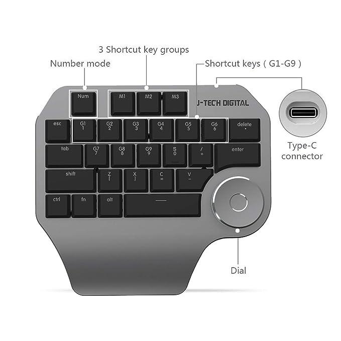 J-Tech Digital con teclado mecánico con pomo inteligente, cortes cortos personalizados, retroiluminación LED para Windows Mac Design Software Wacom ...