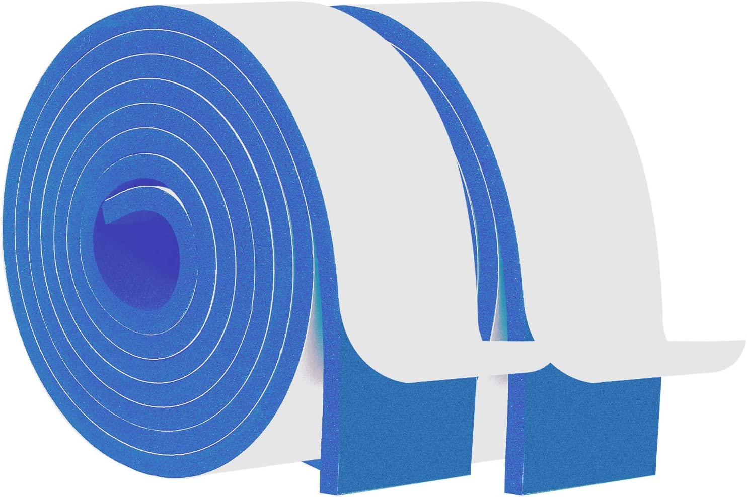 Foam Insulating Tape-2 Rolls, 2 Inch Wide X 1/4 Inch Thick Total 13 Feet Long, Blue Closed Cell Foam Window Seal Door Insulation High Density Adhesive Foam Tape (6.5ft x 2 Rolls)