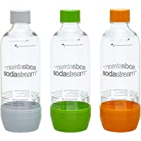 SodaStream Pet-flessen 2+1 action-set, 3x 1 l PET-flessen van onbreekbaar kristalhelder PET in de kleuren oranje, groen…