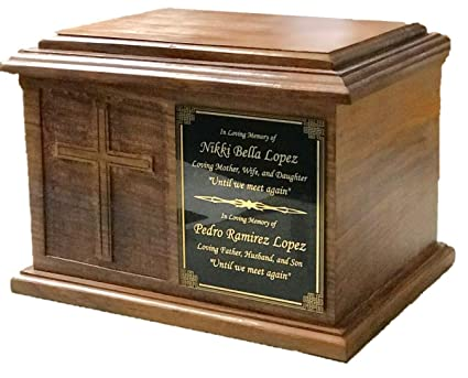 5a39a27e2e50 Amazon.com: NWA Extra Large Cross Wooden Funeral Cremation Ash Urn ...