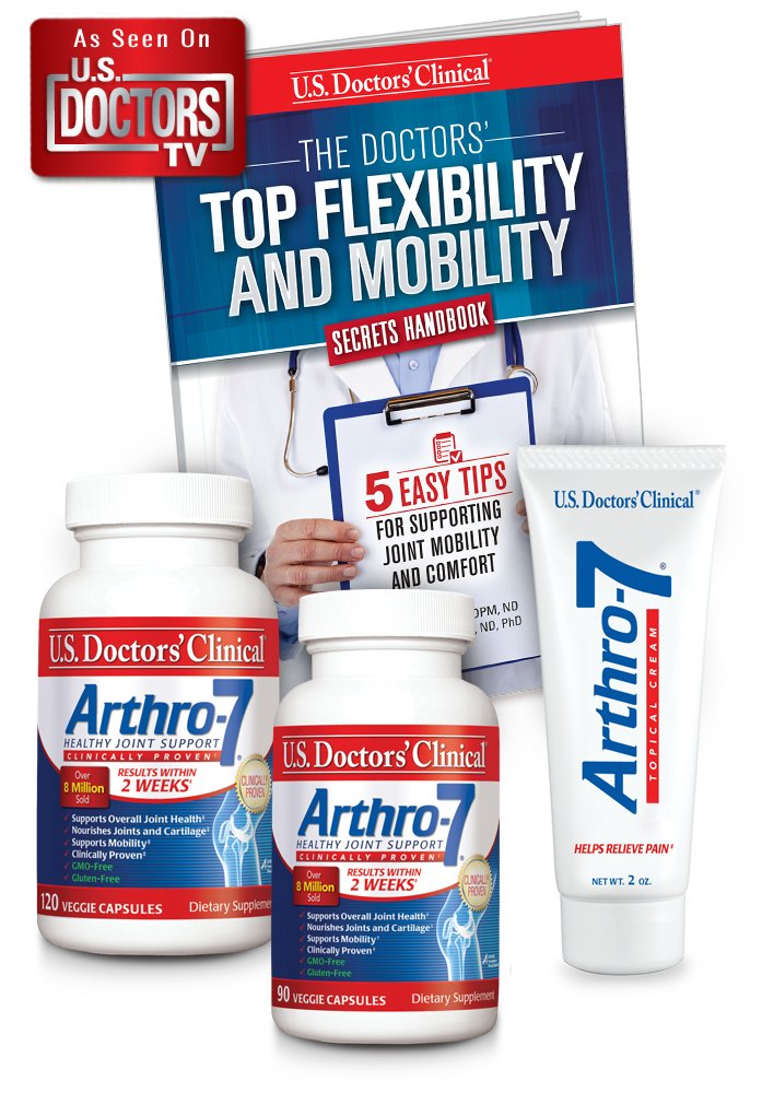 Arthro-7 *Official TV Offer* 3-month Bundle (4 Items) - Bundle Contains 2 Bottles of Arthro-7 Joint Supplement (90 & 120 Ct), Arthro-7 Pain-relief Topical Cream and Top Mobility Secrets Booklet