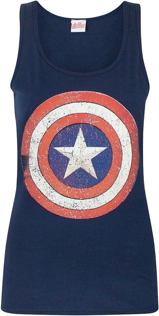 Captain America Distressed Shield Logo Womens Vest