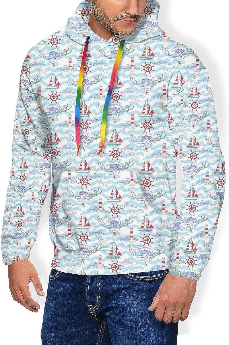 Men's Hoodie Thicken Fluff Sweatshirt,Wavy Stripes Ocean Ship Steering Wheel Message in A Bottle Seagulls M