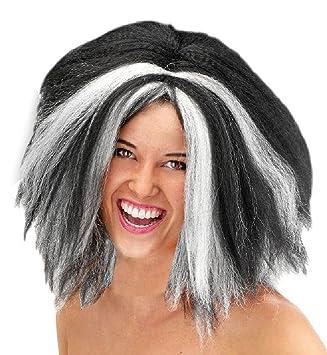Folat Peluca Bruja Negro Blanco WAFFEL Look Halloween Fasching fastnacht: Amazon.es: Juguetes y juegos