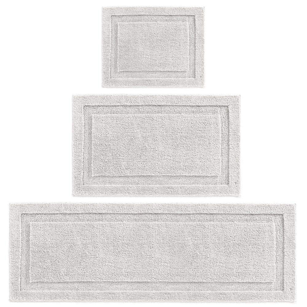 mDesign Soft Microfiber Polyester Spa Rugs for Bathroom Vanity, Tub/Shower - Water Absorbent, Machine Washable - Includes Plush Non-Slip Rectangular Accent Mats in 3 Sizes - Set of 3 - Platinum Gray