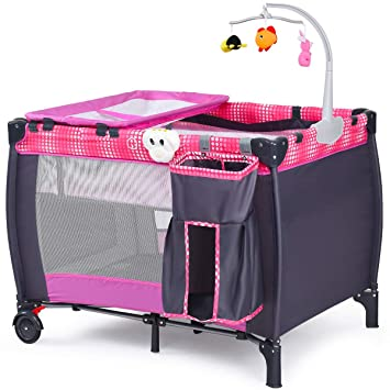 Foldable Travel Baby Playpen Crib Infant Bassinet Bed Mosquito Net Music w// Bag