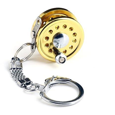 Primi miniatura carrete de pesca Metal clave Anillo llavero ...