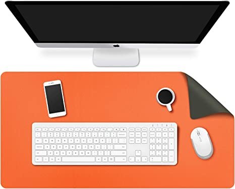 Doppia Lato Verde Scuro MoKo Tappetino da Scrivania 80 x 40 x 0.2 cm Tappetino da Scrivania in Impermeabile Semipelle Ultra Sottile Antiscivolo per Computer Mouse Ufficio Casa Arancione