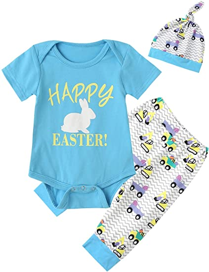b6bae0337 Amazon.com: Happy Easter Outfit Set Baby Boys' Cute Bunny Creeper Romper  Pants with Hat: Clothing