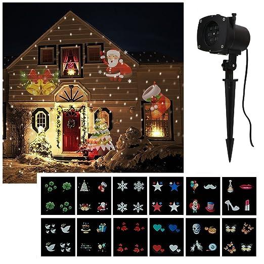 Mabor Proyector Lámpara Foco de Exterior, Proyector Luz Halloween,12 Patrones Diapositivas,Luz Nocturna Luz Decorativa de Feista Navidad Cumpleaños y ...