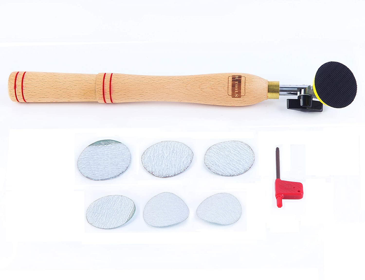 DLtools Woodworking Bowl Hand Sander Tool with Sanding Disc Pad for Wood Turner on Bowls Platters and Concave Surface Turning Polishing Sanding