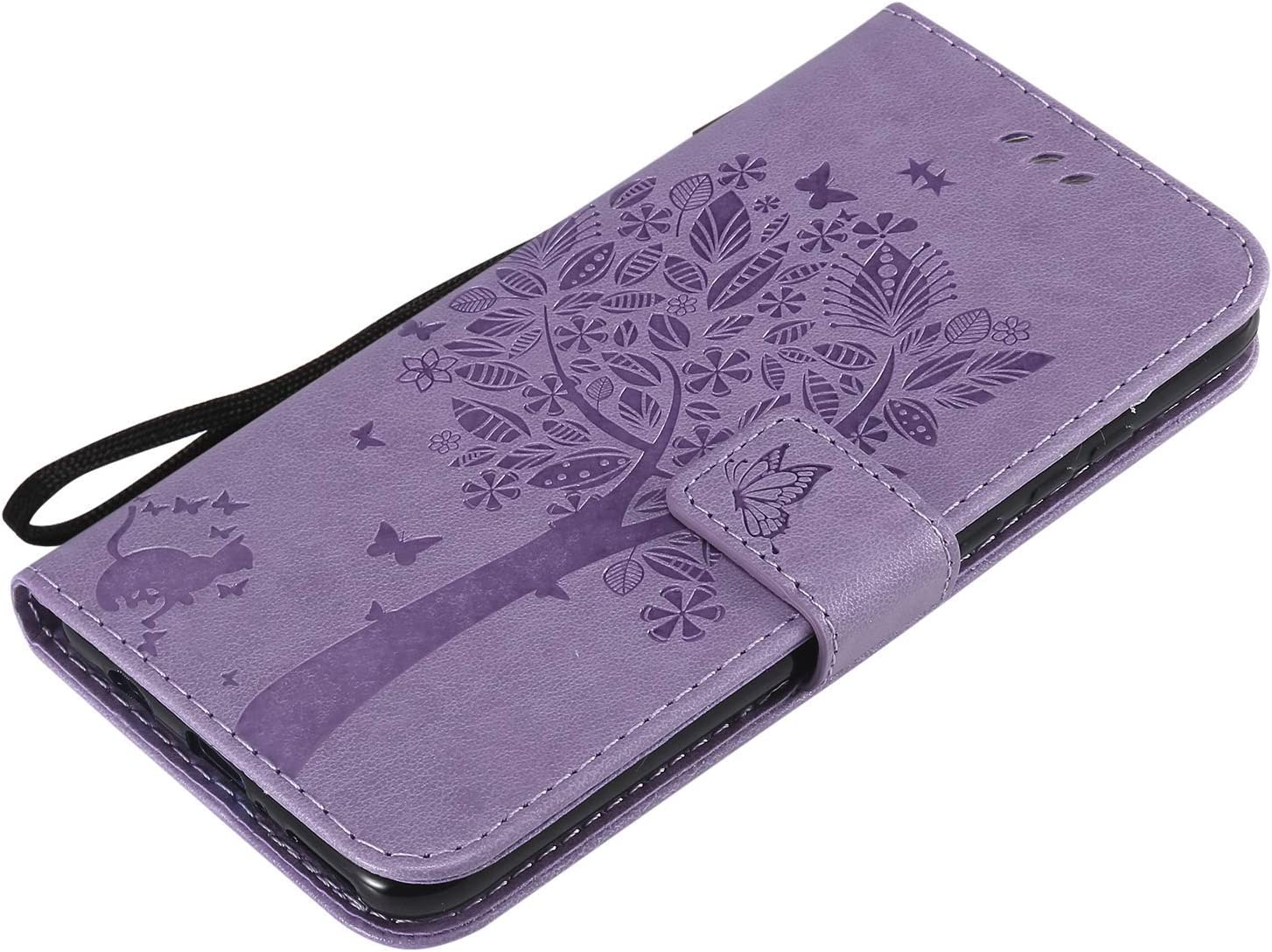 Herbests Compatible with Samsung Galaxy A70 Wallet Case Embossed Tree Butterfly Cat Pattern Slim Protective Case Premium Leather Flip Case with Card Holder Kickstand Magnetic,Pink