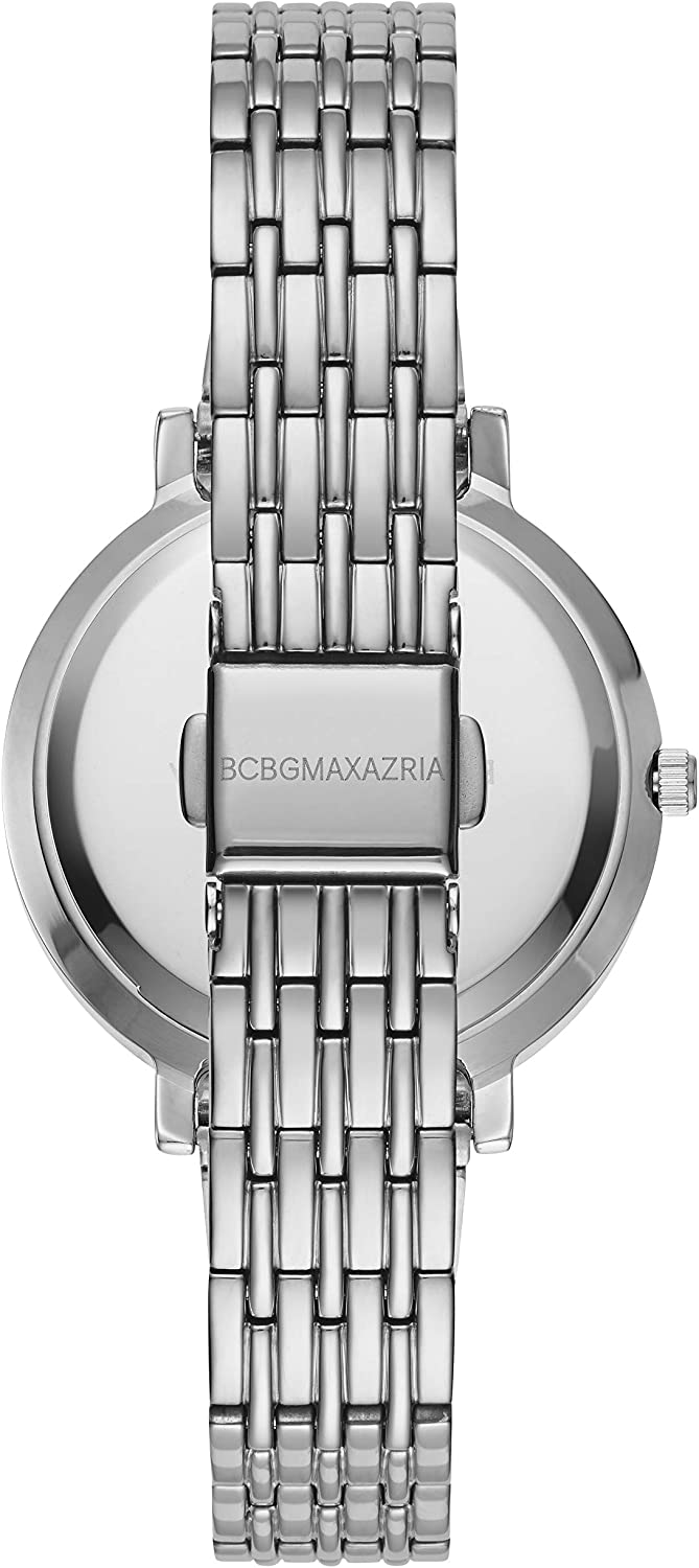 BCBGMAXAZRIA Women's Japanese-Quartz Stainless Steel Case Geniune Leather/Stainless Steel Strap Casual Watch (Model: BG50665001-08 Silver