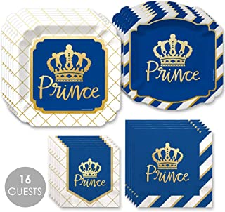 product image for Big Dot of Happiness Royal Prince Charming with Gold Foil - Baby Shower or Birthday Party Tableware Plates and Napkins - Bundle for 16