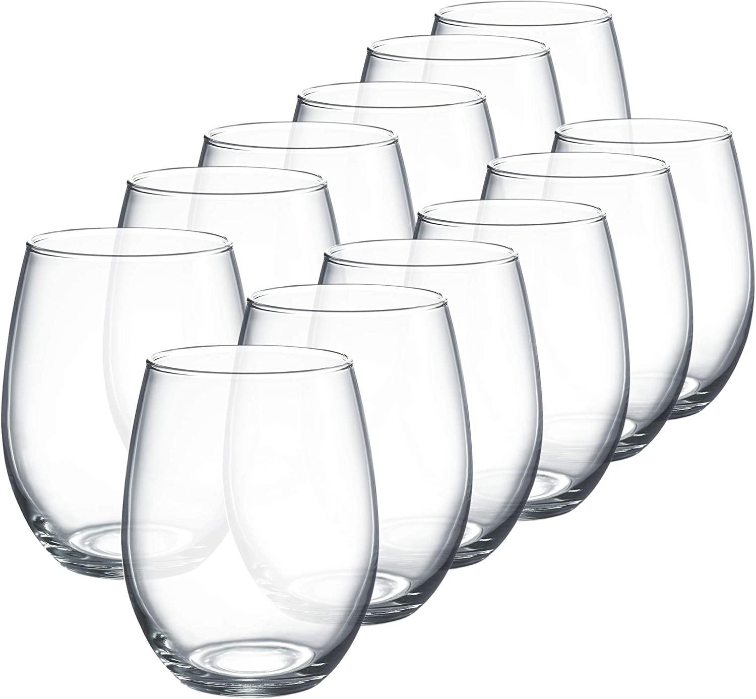Luminarc Perfection Stemless Wine Glass Set Of 12 15 Oz Clear N0056 Mixed Drinkware Sets Amazon Com