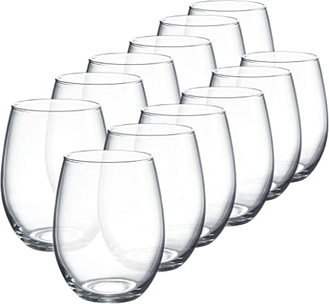 Luminarc Perfection Stemless Wine Glass Set Of 12 15 Oz Clear N0056 Mixed Drinkware Sets