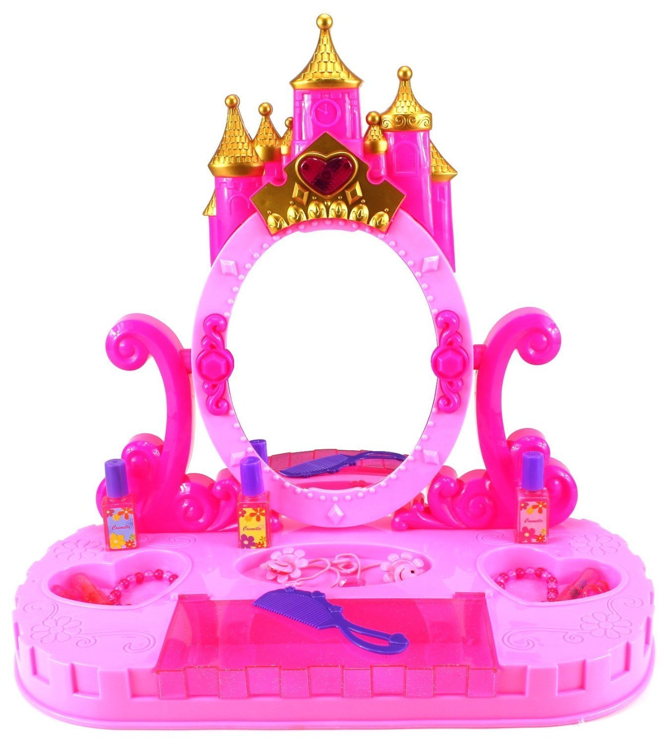 Buy Bohui Girls Vanity Castle Dressing Table Mirror With Lights Music U0026Toy  Make Up Accessories 3+ Years Online At Low Prices In India   Amazon.in