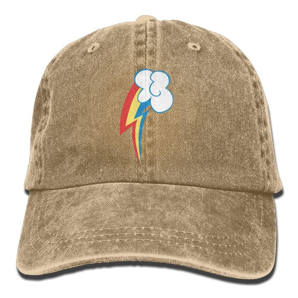 Rainbow Dash Cutie Mark Trend Printing Cowboy Hat Fashion Baseball Cap For Men and Women Black