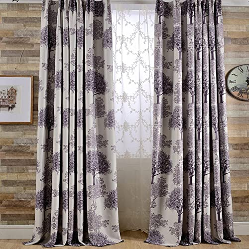 Leyden Grommet Top Modern Purple BigBig Trees Print Curtains Curtain Drapes – 100Wx84 L Multi Size Customizable One Panel