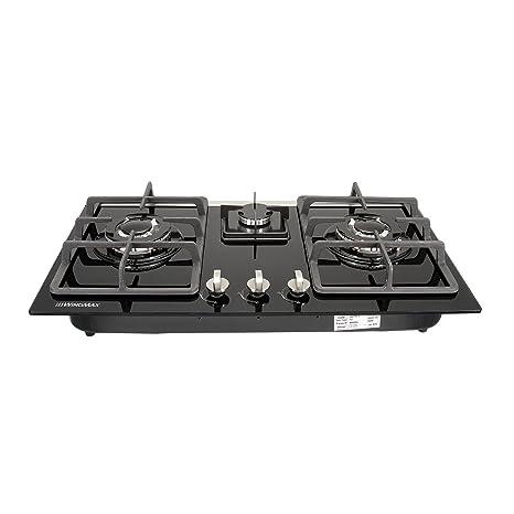 Amazon.com: WINDMAX - Cocina de cristal templado con 3 ...