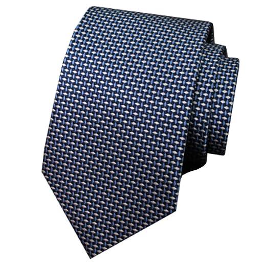 MIAOMIAOWANG Negocio de los Hombres versión Estrecha Blue Rhombic ...