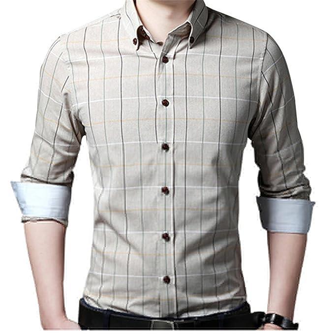 Engineeringed Men Shirt Slim Fit Large M-5XL Spring New Plaid Shirt Clothing Blue XXL at Amazon Mens Clothing store: