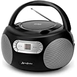 ByronStatics Portable CD Player Boombox with AM FM Radio, Top Loading CD, 1W RMS x 2 Stereo Speaker, Aux-in Jack, LCD Display