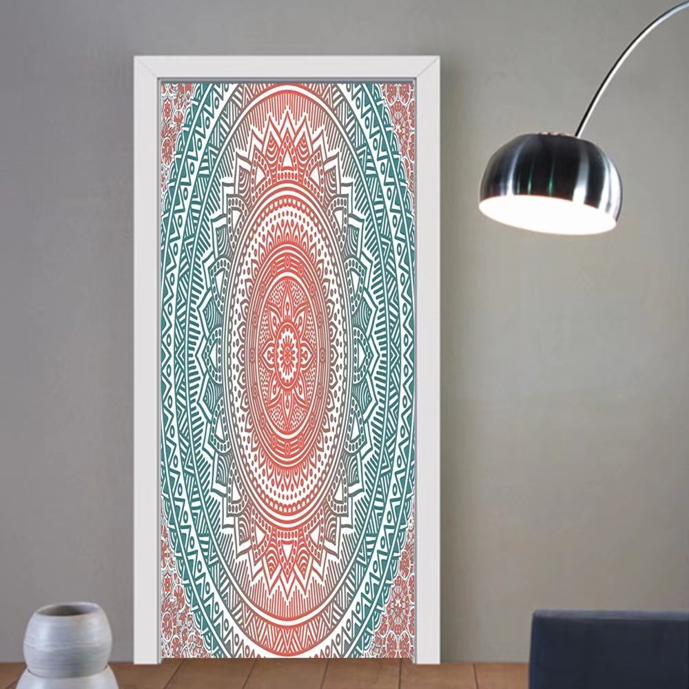 Gzhihine custom made 3d door stickers Teal and Coral Ombre Mandala Art Antique Gypsy Stylized Folk Pattern Mystical Cosmos Image Teal Coral For Room Decor 30x79