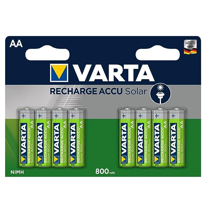 VARTA Solar - Pack de 8 Pilas AA Recargables (NiMH, 800 mAh)