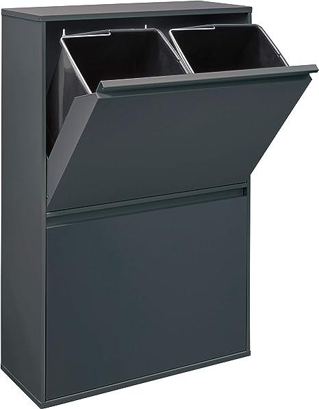 ARREGUI CR604 B Basic Stahl, Mülltrennsystem mit 4 Inneneimer, Mülleimer für die Küche, Abfallbehälter mit separater Recycling Einheit, 68 L,