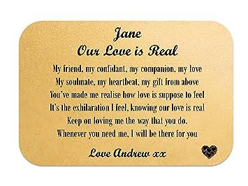 Personalised Romantic Mini Wallet/Purse Keepsake Poem Card