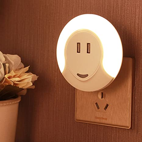 WisHome LED Night Light with Automatic Dusk to Dawn Sensor and 5V 2A Dual  USB Wall Plate Charger Perfect for Baby Room Bathroom Bedroom Hallway
