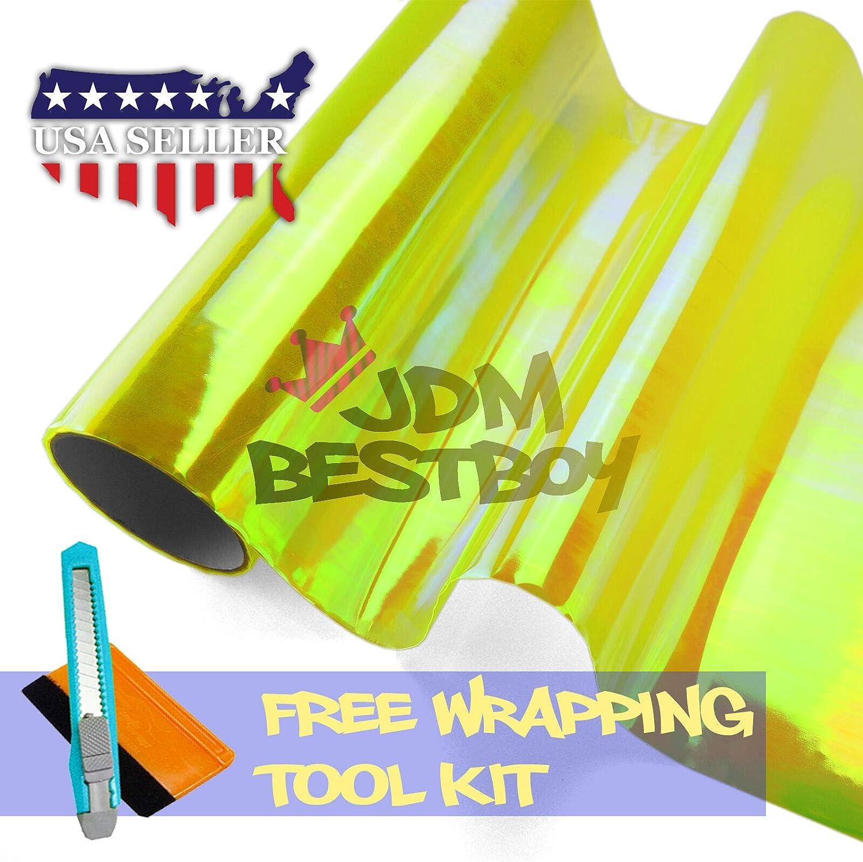 1FT x 5FT Chameleon Neo Pearl Color Headlight Taillight Fog Light Side Marker Vinyl Tint Film Self Adhesive Free Tool Kit 12x60