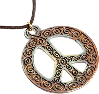 product image for Filigree Iridescent Peace Symbol Pendant Necklace on Adjustable Natural Fiber Cord