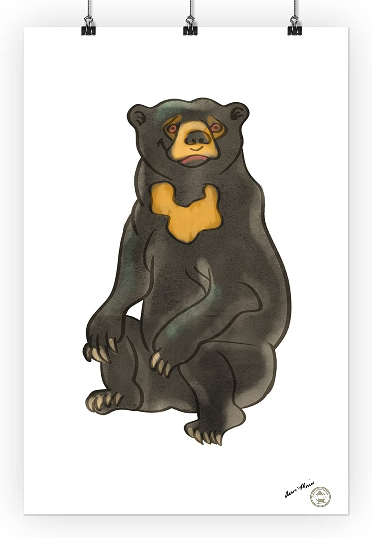 24x36 Giclee Gallery Print, Wall Decor Travel Poster Soft Cartoon Sun Bear