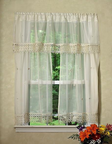 Violet Linen Daisy Design Sheer 3 Piece Kitchen Curtain Set 18quot