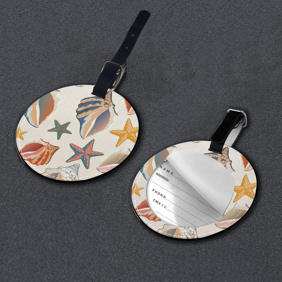 Round Luggage Tags Seashells And Starfish PU Leather Suitcase Labels Bag