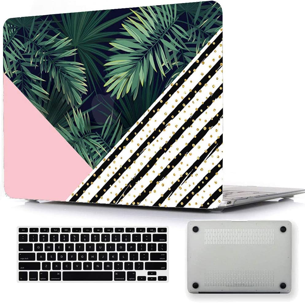 """Bizcustom Tropical Element Hard Case for 15"""" MacBook Pro Retina,  A1398(no-cdrom), Rubberized Plastic Painting Cover Triangle/Leaves:  Amazon.co.uk: Computers & Accessories"""