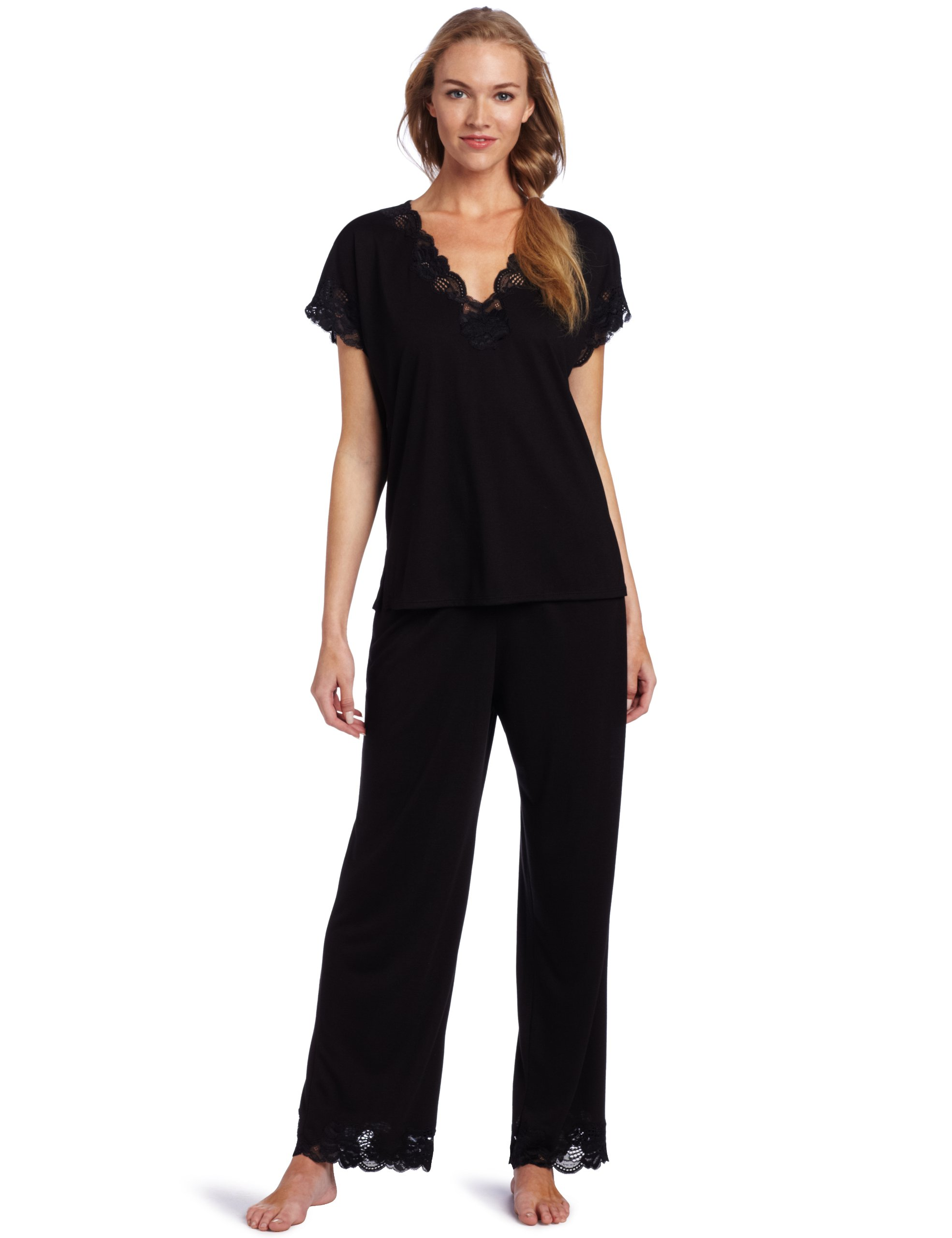 Natori Women's Plus-Size Zen Floral Pajama Set, Black, 2X
