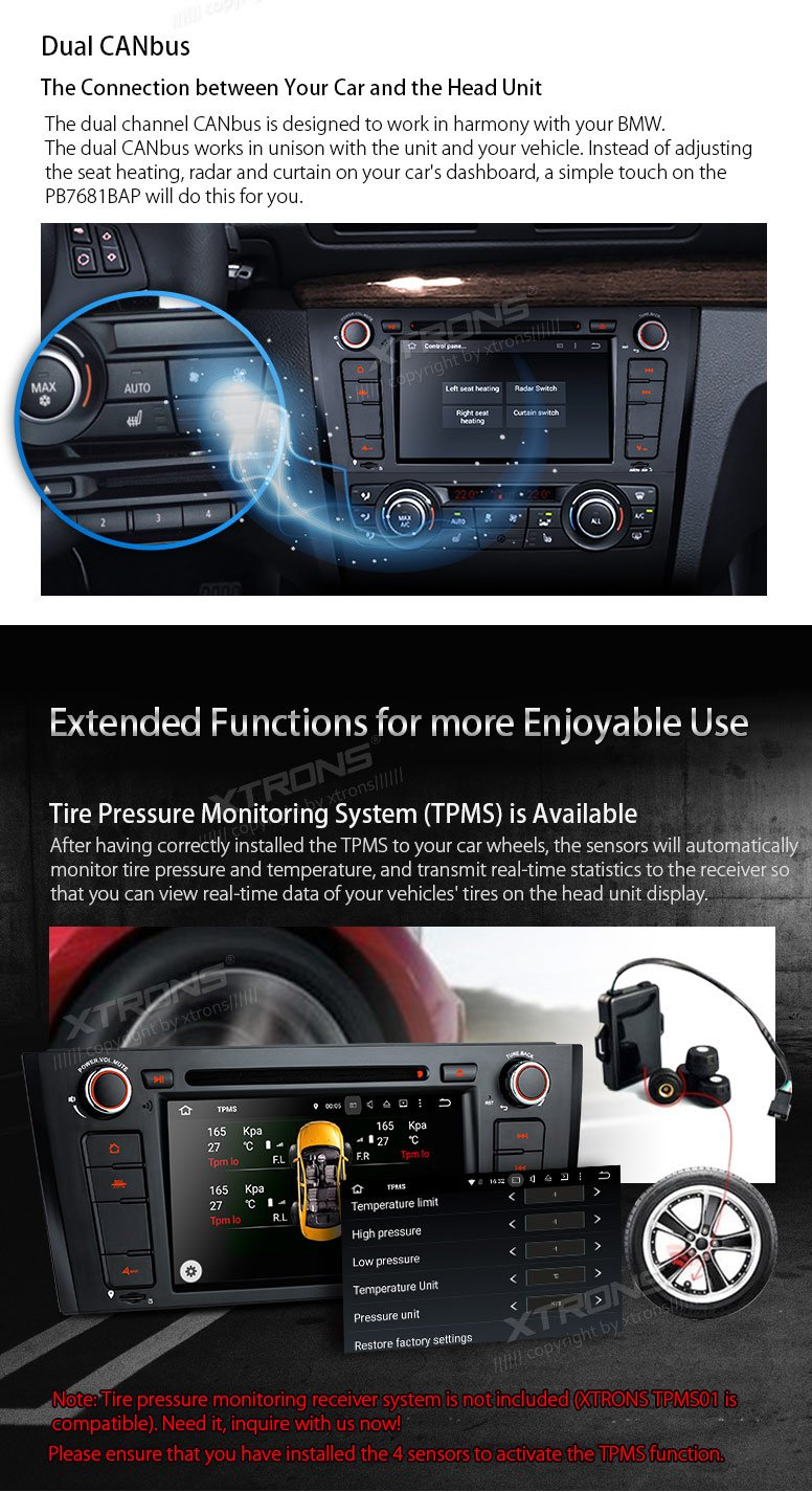 XTRONS Android 6.0 Octa-Core 64Bit 7 Inch Capacitive Touch Screen Car Stereo Radio DVD Player GPS CANbus Screen Mirroring Function OBD2 Tire Pressure Monitoring for BMW 1 Series E81 E82 E88 by XTRONS (Image #9)