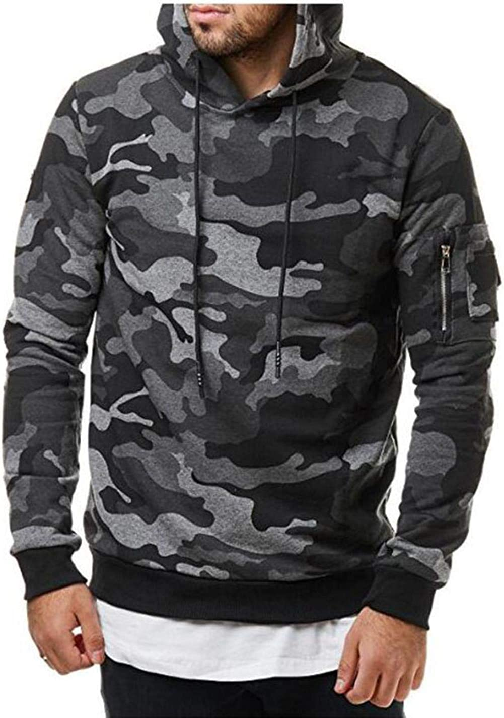 Zcaosma Men Hoodies Sweatshirt Fashion Camouflage Military Tracksuit Casual Pullover Male Hooded